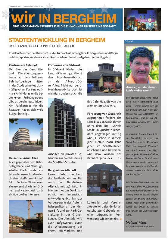 Wir in Bergheim Ausgabe 12/2018